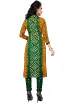 Print Work Green Churidar Suit