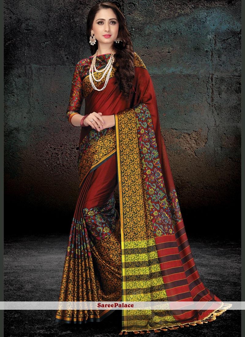 Print Work Handloom silk Traditional  Saree