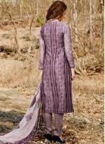 Print Work Lavender Cotton Satin Pant Style Suit