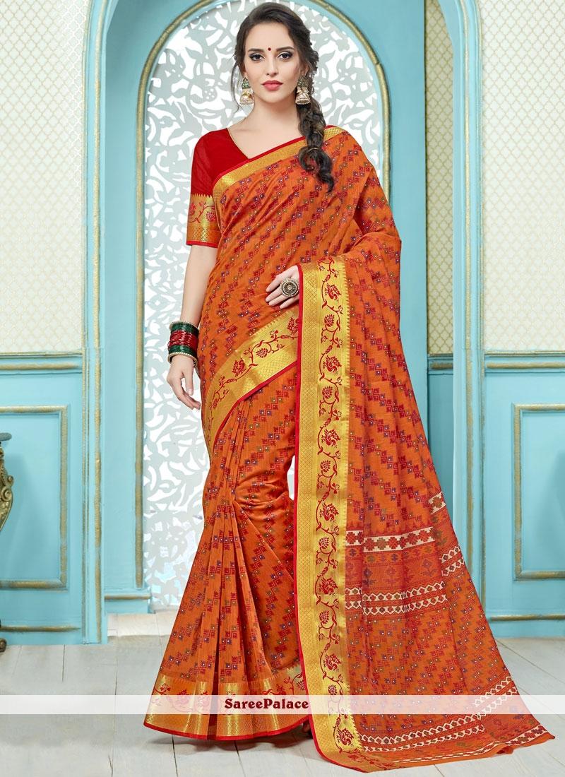 Print Work Orange Cotton   Casual Saree