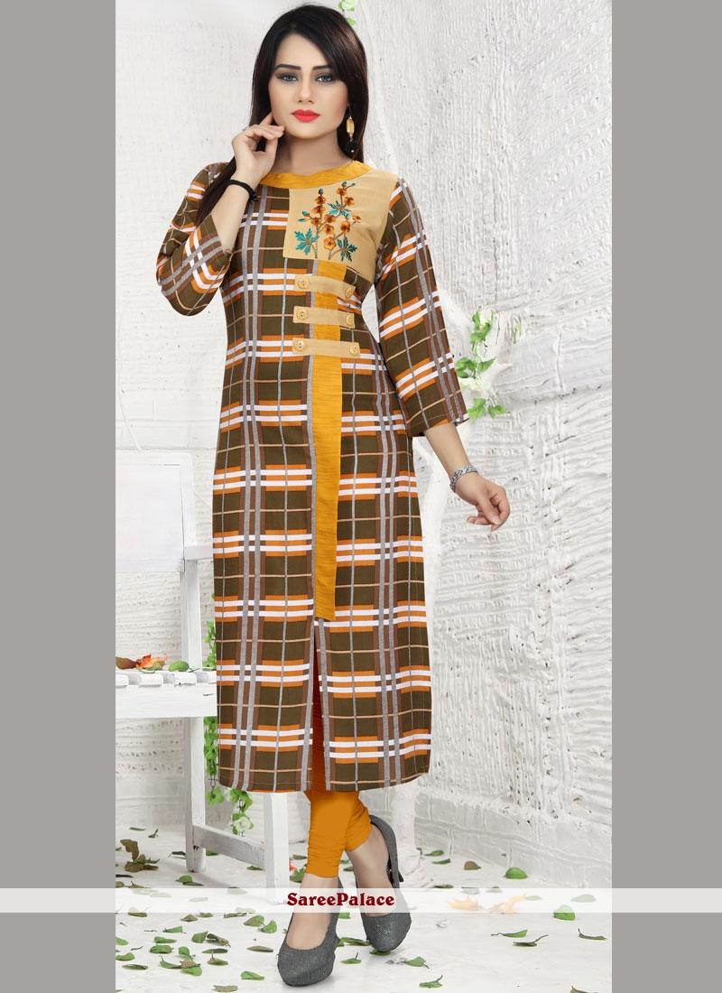 Print Work Rayon Party Wear Kurti