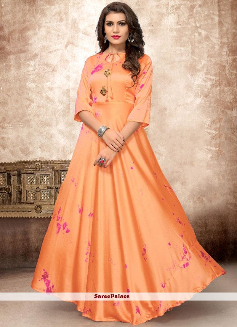 5615d360cd Buy Print Work Satin Silk Orange Party Wear Kurti Online