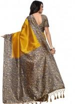 Print Work Yellow Art Silk Casual Saree
