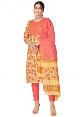 Print Yellow Cotton Readymade Suit