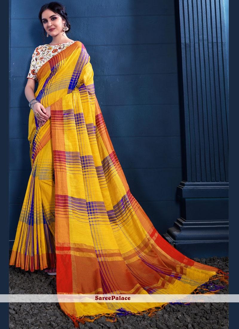 Print Yellow Linen Trendy Saree