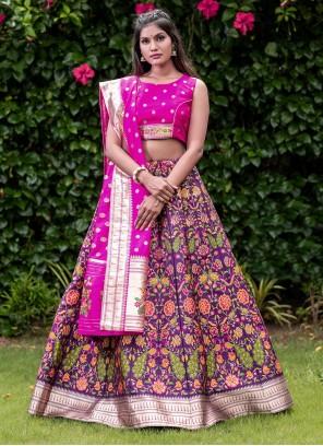 Purple Printed Banarasi Silk A Line Lehenga Choli