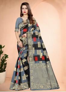 Printed Art Banarasi Silk Grey Traditional Saree