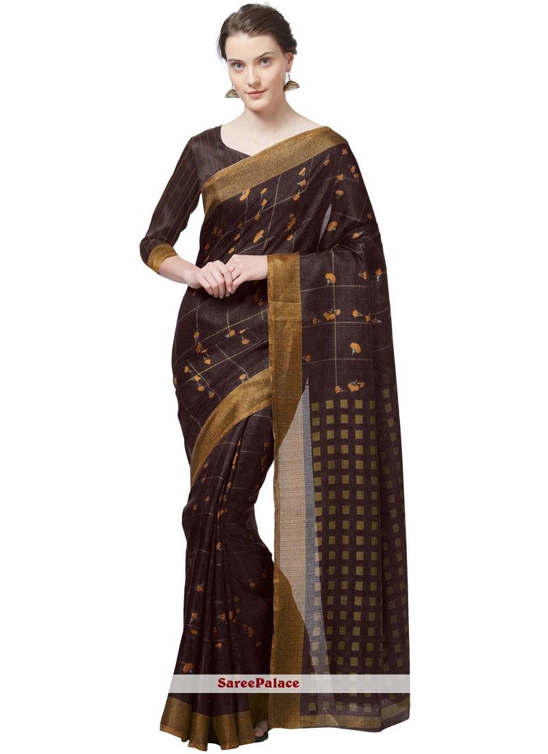 Brown Printed Art Silk Casual Saree