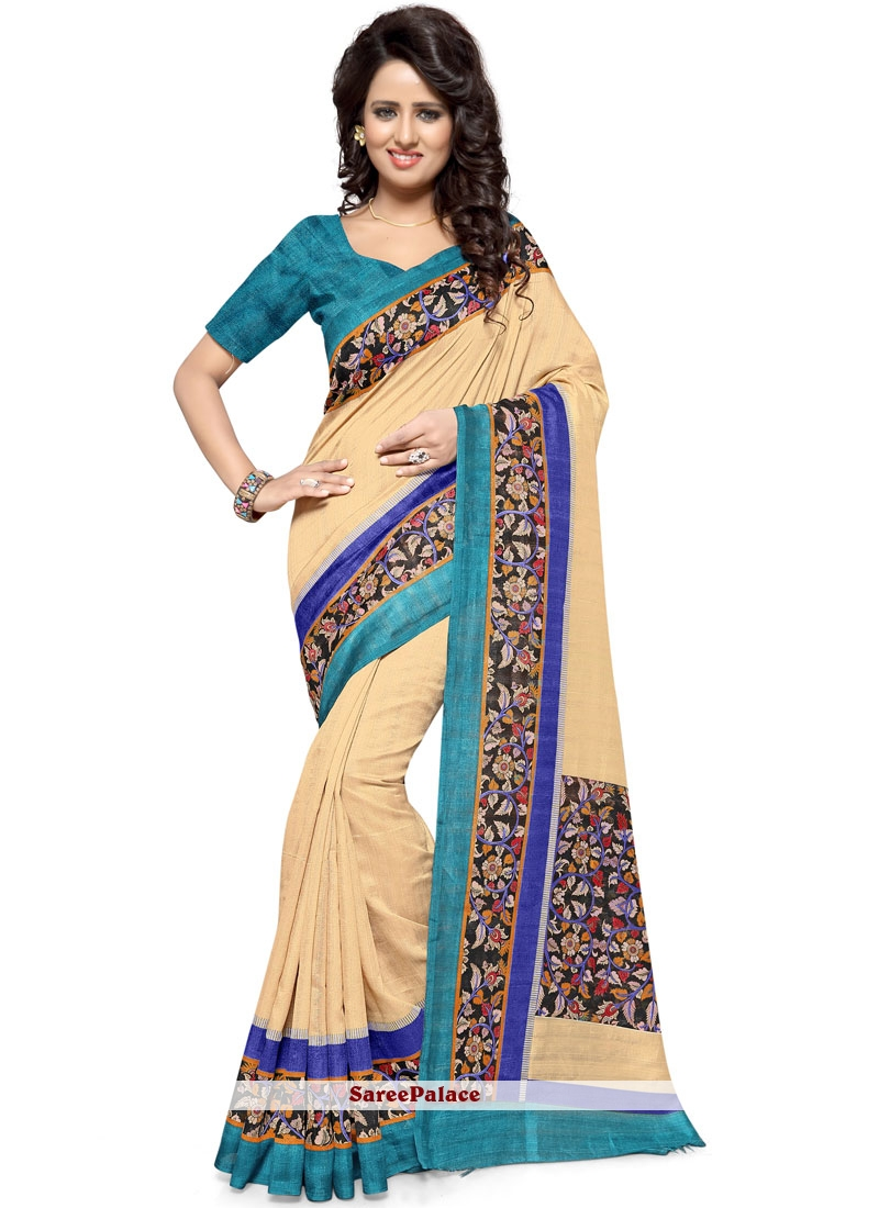 Printed Art Silk Casual Saree in Cream