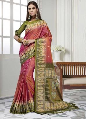 Pink Printed Art Silk Classic Saree