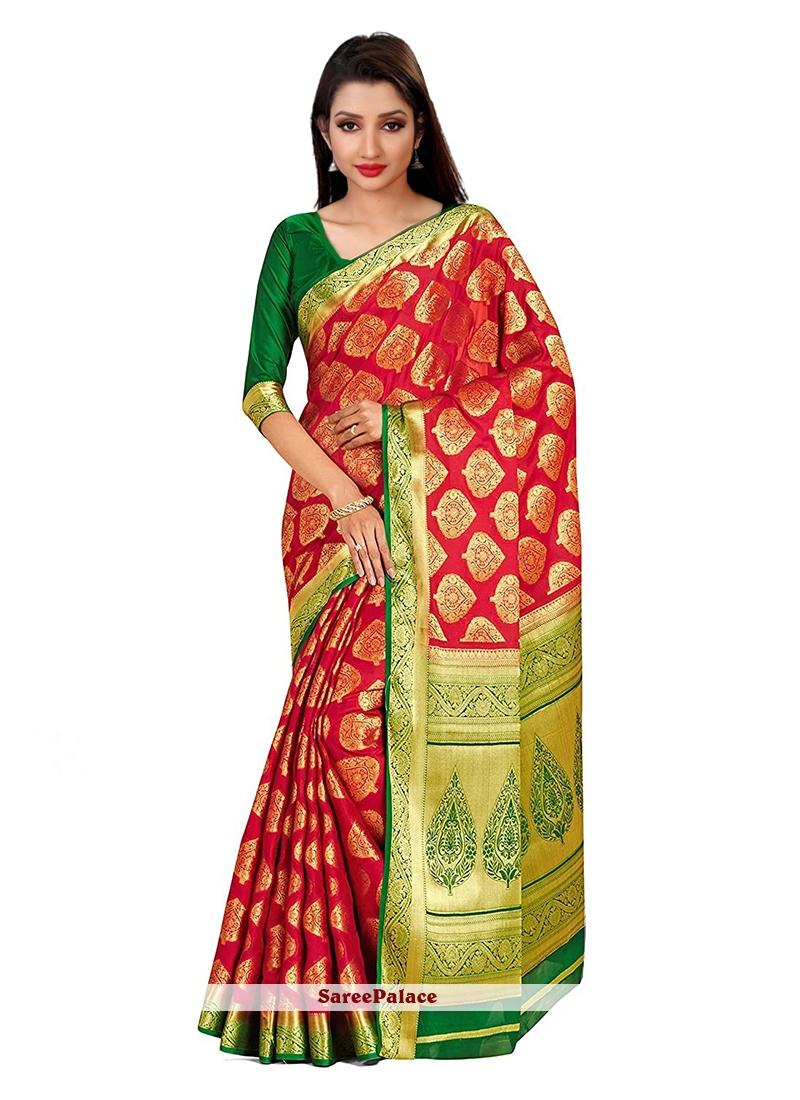 Printed Art Silk Designer Traditional Saree in Red