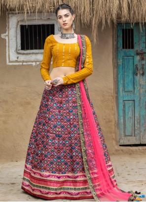 Printed Multi Colour Art Silk Lehenga Choli