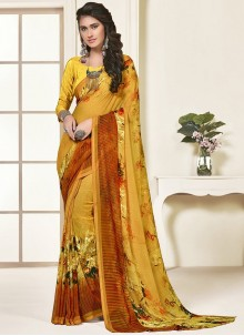 Printed Art Silk Mustard Saree