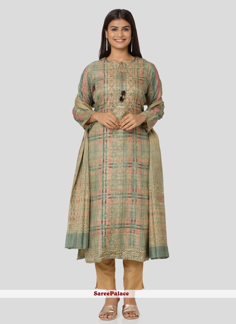 Printed Art Silk Salwar Suit in Multi Colour