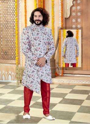 Printed Art Silk Sherwani in Multi Colour and Off White
