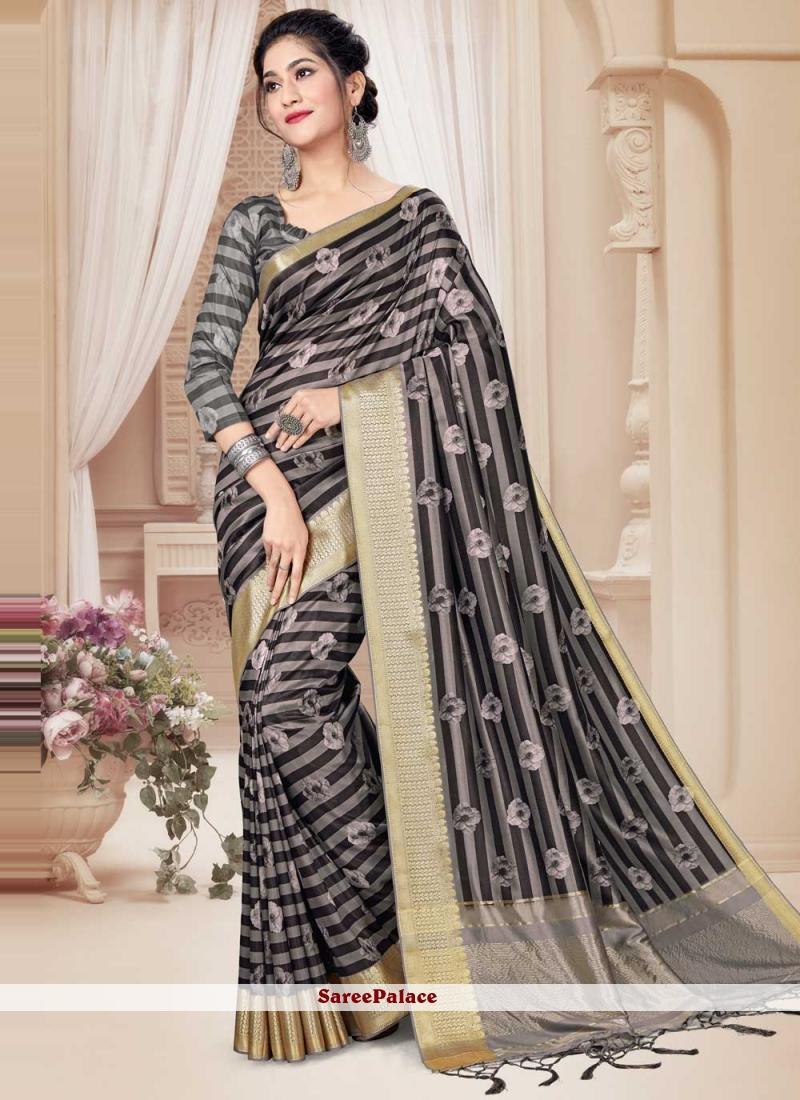 Multi Colour Printed Art Silk Trendy Saree