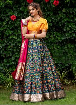 Teal Printed Banarasi Silk A Line Lehenga Choli
