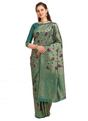 Printed Banarasi Silk Green Traditional Saree