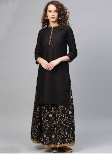 Printed Black Cotton Salwar Kameez