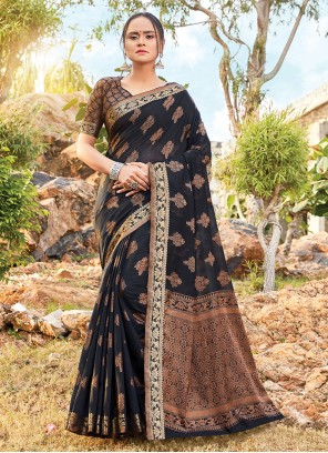Printed Black Handloom Cotton Classic Saree