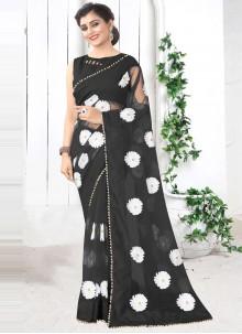 Net Black Printed Saree