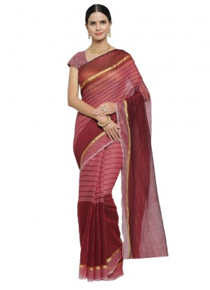 Printed Blended Cotton Maroon Designer Saree