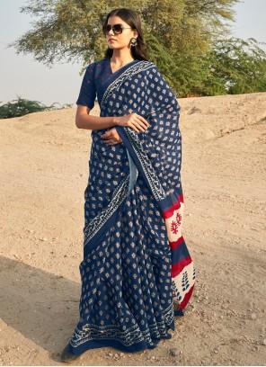 Printed Blue Casual Saree