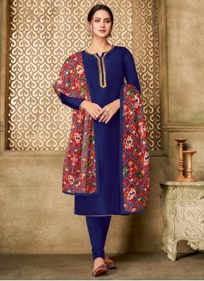 Printed Blue Churidar Designer Suit