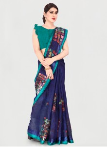 Printed Blue Cotton Saree