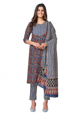 Printed Blue Cotton Readymade Suit