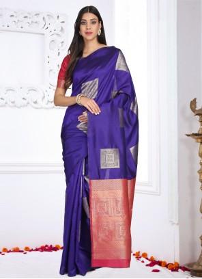 Printed Blue Cotton Silk Saree