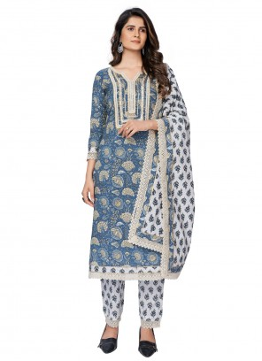 Printed Blue Readymade Suit