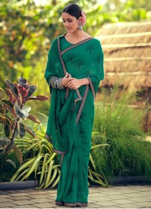 Printed Green Bollywood Saree