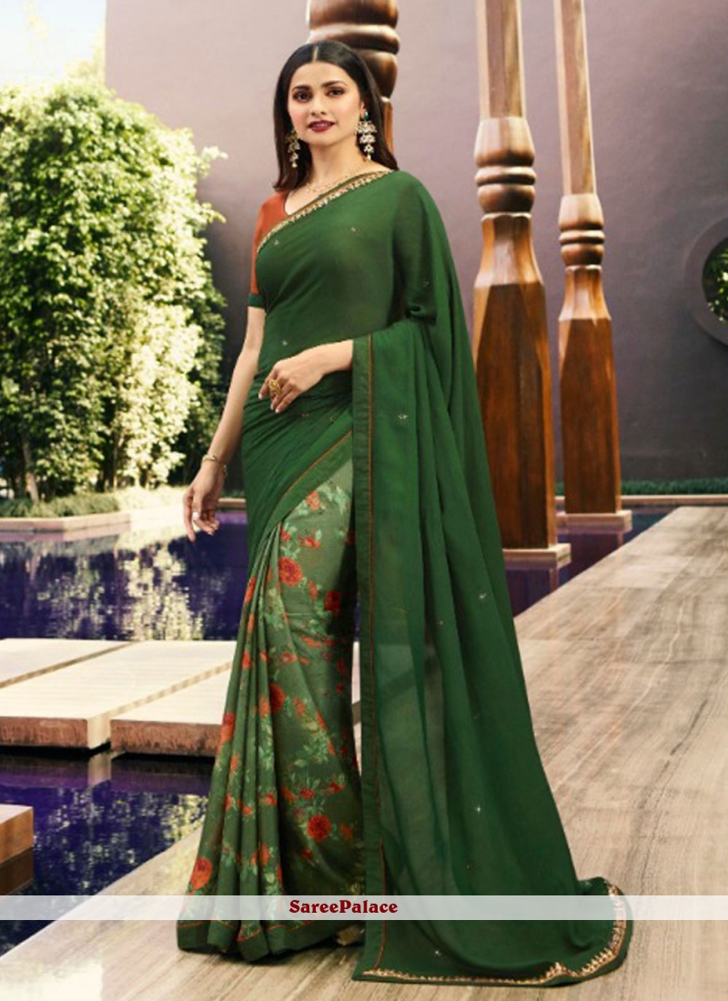Sea Green Printed Bollywood Saree