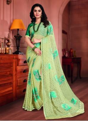 Brasso Green Printed Saree