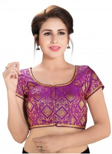 Printed Brocade Blouse in Purple
