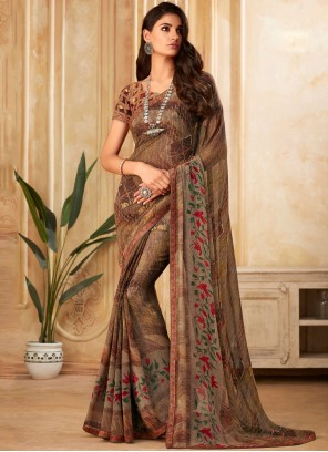 Printed Brown Designer Saree