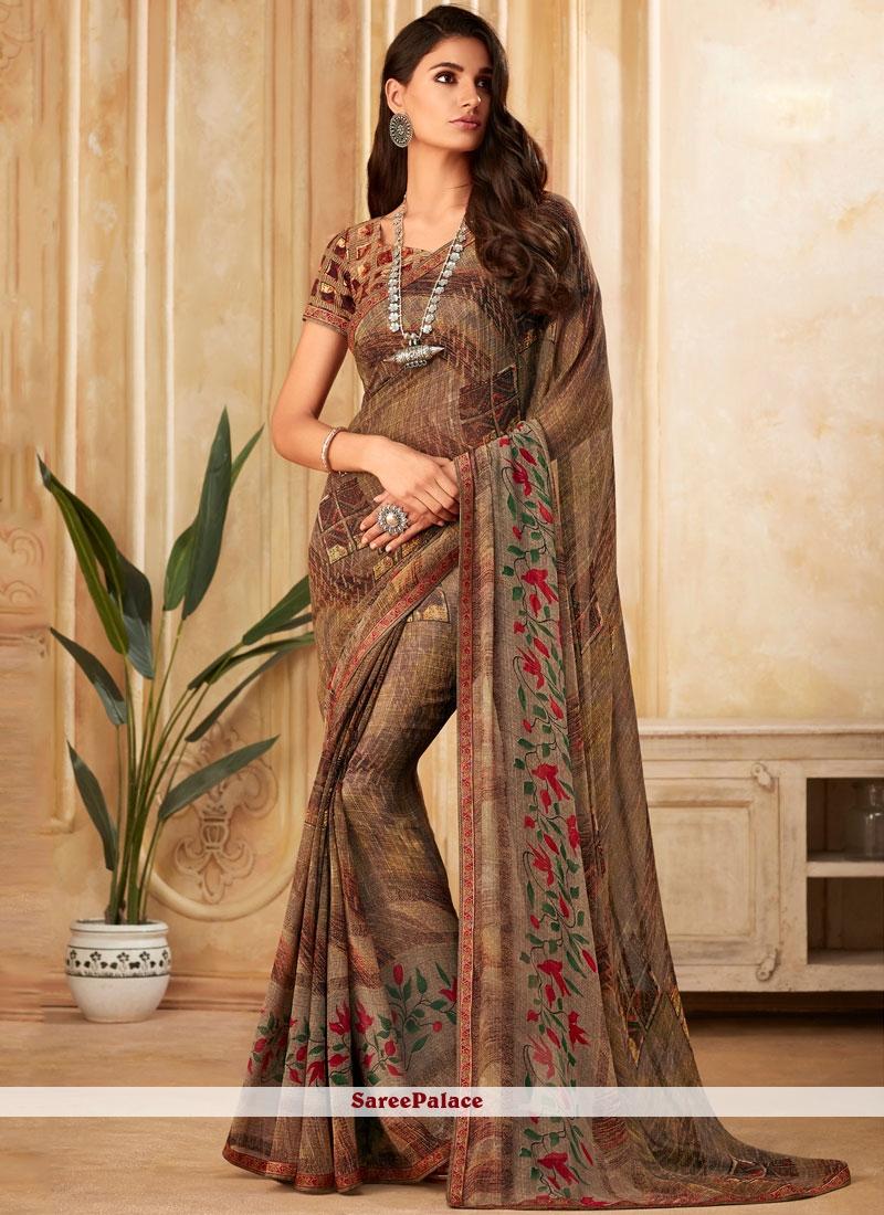 Printed Brown Designer Saree