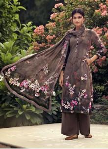 Printed Brown Palazzo Suit
