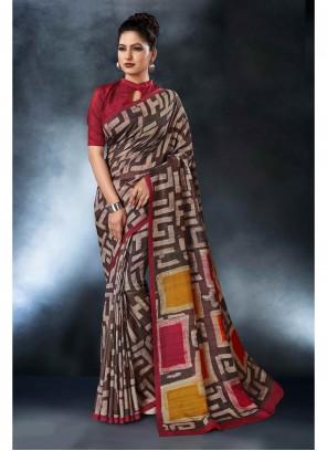 Printed Brown Saree