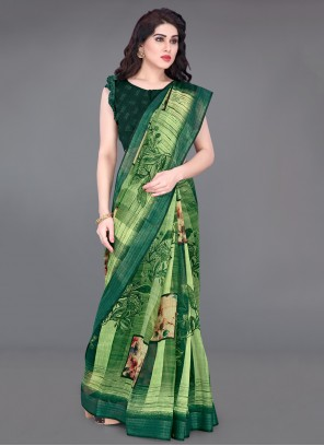 Printed Casual Green Printed Saree