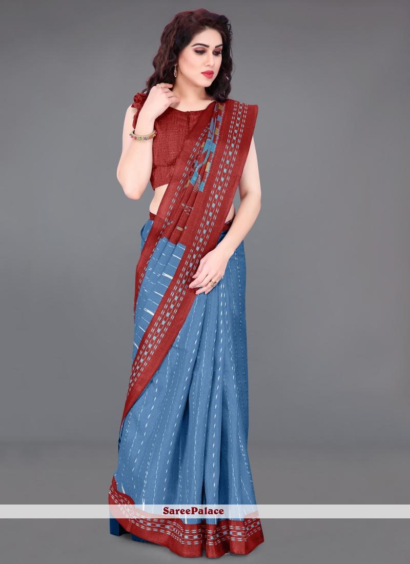 Printed Casual Blue Saree