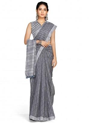 Grey Printed Casual Saree