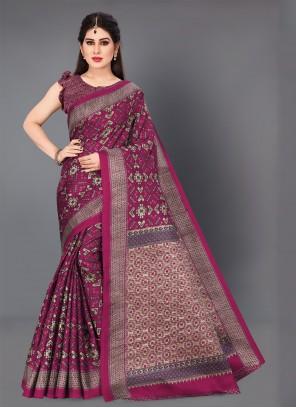 Printed Casual Hot Pink Traditional Saree