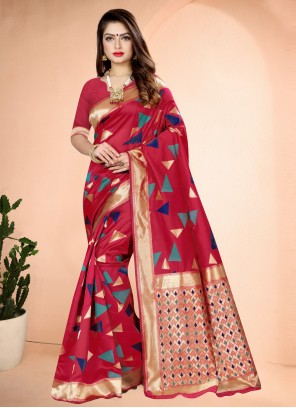 Hot Pink Printed Ceremonial Designer Traditional Saree