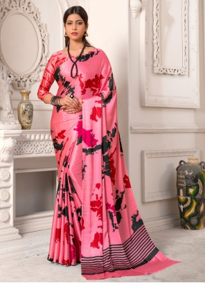 Printed Ceremonial Pink Trendy Saree