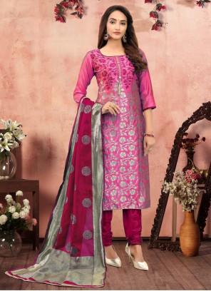 Printed Hot Pink Churidar Suit