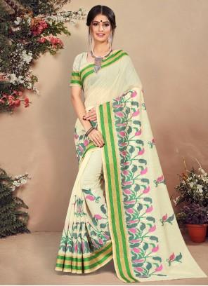 Printed Off White Classic Saree