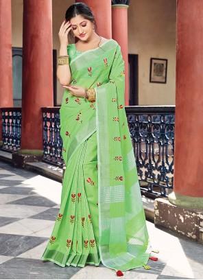 Green Printed Linen Classic Saree