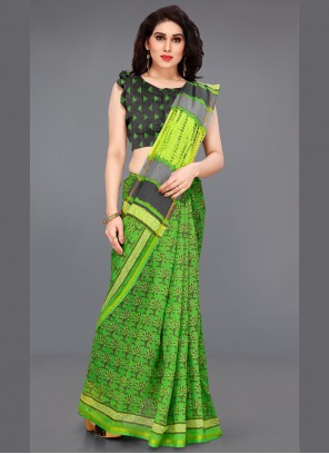 Printed Green Contemporary Saree